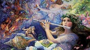 Artistic Colorful Fantasy Flower Flute Girl Painting Shell 1772x1259 Wallpaper