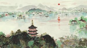 Painting Landscape Japanese Art Neo1900 2868x1080 Wallpaper