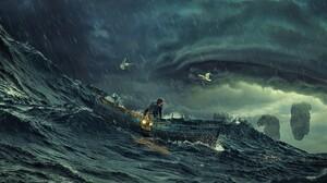 Boat Fantasy Man Ocean Sea Storm Wave 4718x2405 Wallpaper