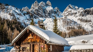 Alps Austria Cabin Mountain Snow Winter 2048x1349 Wallpaper