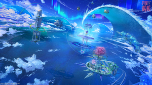 Aurora Borealis Building Clock Cloud Fantasy Floating Island Rainbow 2000x1125 Wallpaper