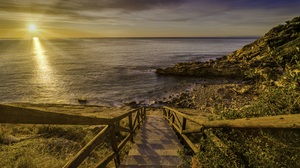 Coast Horizon Ocean Spain Stairs Sunrise 5286x3452 Wallpaper