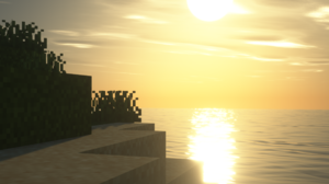 Sunset Sunrise Minecraft Shaders Video Games Screen Shot Landscape Portal 2560x1440 Wallpaper