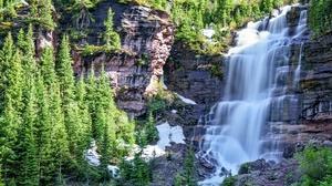 Cliff Nature Rock Tree Waterfall 2048x1463 wallpaper