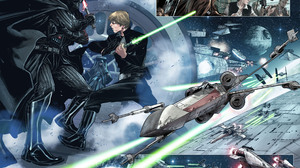 Chewbacca Darth Vader Luke Skywalker Star Wars X Wing 2700x2087 Wallpaper