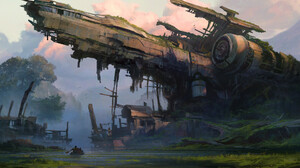 Artwork Digital Art Nature Abandoned Spaceship Wreck 1920x1235 Wallpaper