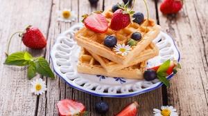 Blueberry Breakfast Fruit Still Life Strawberry Waffle 5616x3744 Wallpaper