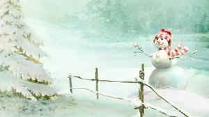 Fence Snow Snowman Tree 3840x2160 Wallpaper