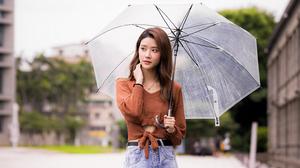 Asian Model Women Long Hair Brunette Jeans Umbrella Pullover Depth Of Field Trees Grass Building Bel 3041x2149 Wallpaper