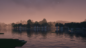 Minecraft Shaders Landscape Water Forest Trees 1920x1080 wallpaper