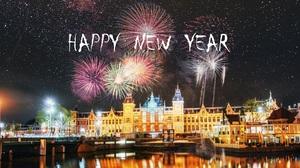 Happy New Year Fireworks 2421x1080 Wallpaper