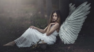 Women Outdoors Women Outdoors Sitting Dress White Dress Wings Angel Fantasy Girl Barefoot Dyed Hair  2000x1262 Wallpaper