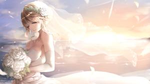 Blonde Braid Veil Wedding Dress Bouquet Smile Yellow Eyes Wink 6640x4000 Wallpaper