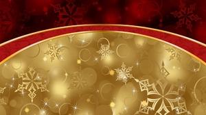 Christmas Golden Red Snowflake 1920x1080 Wallpaper