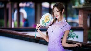 Asian Braid Brown Eyes Brunette Depth Of Field Fan Girl Model Purple Dress Woman 4000x2668 wallpaper