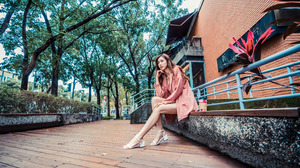 Asian Model Women Long Hair Dark Hair Depth Of Field Barefoot Sandal Jacket Shirt Stairs Railings Br 3840x2561 Wallpaper