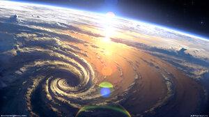 Artwork Space Earth Planet Hurricane 1920x1080 Wallpaper