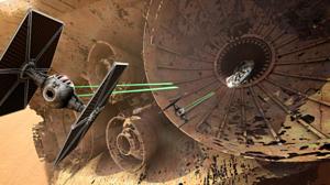 Millennium Falcon Star Wars Star Wars Episode Vii The Force Awakens Tie Fighter 5000x2958 Wallpaper