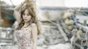 Asian Women Dyed Hair Long Hair Dress Looking At Viewer Women Outdoors Outdoors 2400x1360 Wallpaper