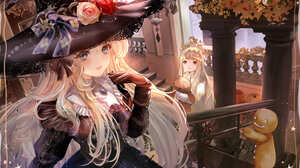 Anime Anime Girls Halloween Gothic Witch Blonde Blue Eyes 3000x2109 wallpaper