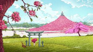 Christian Benavides Digital Art Fantasy Art Buddha Shinto Arch Deer Mountains Pink Trees Flowers Clo 3840x2160 Wallpaper
