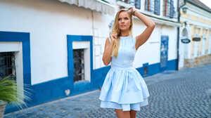 Woman Blonde Blue Eyes Dress Depth Of Field Girl 2000x1125 Wallpaper