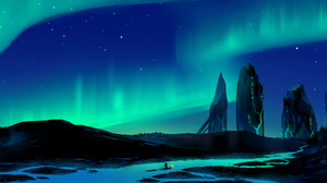 Aurora Borealis River 3552x1688 wallpaper