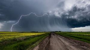 Cloud Dirt Road Field Flower Lightning Rapeseed Storm 3840x2160 Wallpaper