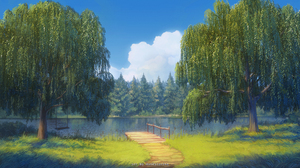 Landscape Anime Nature Trees Water Pier Outdoors Swings 1920x1080 Wallpaper