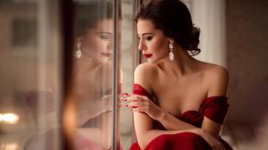 Brunette Long Earings Long Hair Reflection Red Dress Photography Bare Shoulders Earring Red Lipstick 1920x1080 Wallpaper