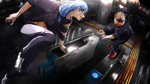 Mahito Jujutsu Kaisen Yuji Itadori Blue Hair School Uniform Boy 7000x3960 Wallpaper