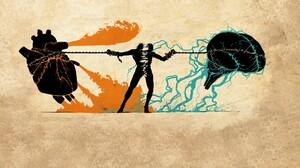Brain Heart Power Lines Artwork Digital Art Abstract 1920x1200 Wallpaper