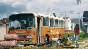 Artwork Digital Art Anime Dog Buses 1920x960 wallpaper