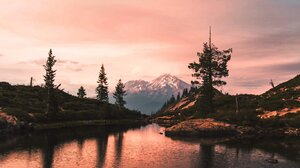 Landscape Nature Lake Mountains Snowy Mountain Reflection Portrait Display Vertical 1366x2048 Wallpaper