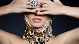 Woman Ring Jewelry Girl Face Hand Lipstick 1920x1200 Wallpaper