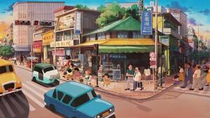 Artwork Digital Art City Car Shop 1920x1080 Wallpaper