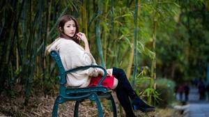 Girl Bench Woman Model Boots Brunette 4500x3002 Wallpaper