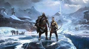 Video Games Video Game Art Digital Art Kratos God Of War God Of War Ragnarok Bow And Arrow Ice Wolf  3840x2160 Wallpaper