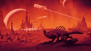 Illustration Artwork Science Fiction Retro Science Fiction Planet Landscape Planetary Rings Vehicle  3840x2160 Wallpaper