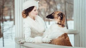 Winter Girl Dog Fur Gazebo Coat Greyhound Woman 2000x1423 Wallpaper