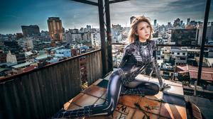Asian Model Women Dyed Hair Cosplay Rooftops Tiled Floor Depth Of Field Skyline Long Hair Sitting Co 3840x2561 Wallpaper