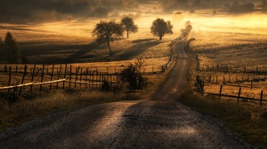 Fog Landscape Nature Road 2000x1333 wallpaper