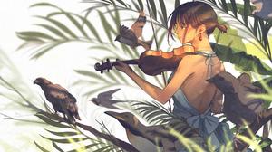 Anime Anime Girls Birds Brunette Dress Penguins Plants White Background Earrings Ponytail Dark Eyes  4630x2668 Wallpaper