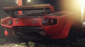 Pavel Golubev Car Vehicle Lamborghini Lamborghini Countach Digital Art Red Cars 2420x1100 Wallpaper