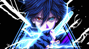 Uchiha Clan Uchiha Sasuke Digital Anime Heterochromia Looking At Viewer Blue Hair Sword Triangle Sim 2444x2444 Wallpaper