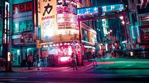 Neon Neon Lights Night Urban Cityscape City Street Asia People Japan 3840x2160 Wallpaper