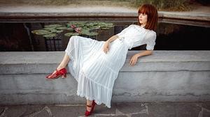 Women Model Dress White Dress Shoes Red Shoes Redhead Women Outdoors Outdoors 2000x1125 wallpaper