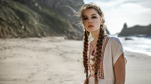 Ksenia Kokoreva Yuriy Lyamin Beach Women Model Braids Brunette Women On Beach Lipstick Traditional C 2048x1280 Wallpaper