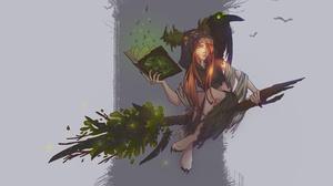 Book Broom Girl Green Eyes Long Hair Orange Hair Raven Witch Woman 2236x1292 Wallpaper