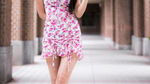 Asian Model Women Women Outdoors Long Hair Dark Hair Depth Of Field Flower Dress Barefoot Sandal Pai 2560x3840 Wallpaper